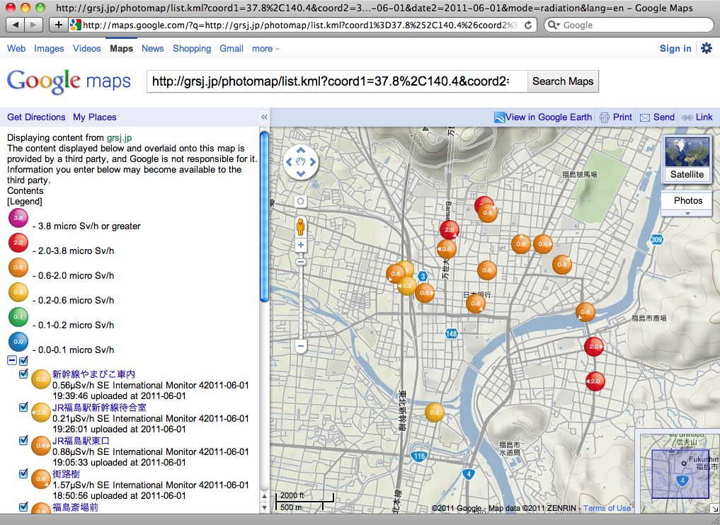 Radiation Photo Map of Fukushima CIty (June 1, 2011, measured on foot, with terrain)