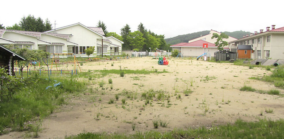 This schoolyard in Iitate was decontaminated in January, 2012. Will it ever be deemed fit to use again?
