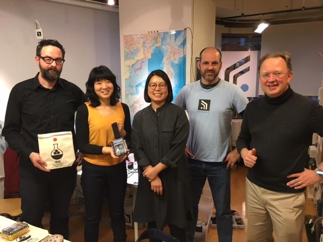 Sean Bonner, Yoko Kumano, Kayoko Akabori, Joe Maross, Pieter Franken at Safecast office, Shibuya